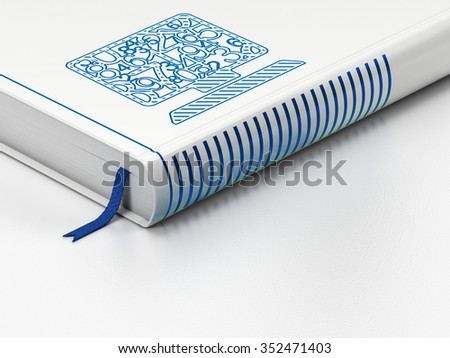 Education concept: closed book with Blue Computer Pc icon on floor, white background, 3d render