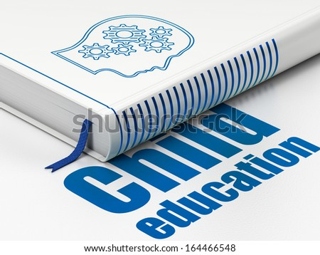 Education concept: closed book with Blue Head With Gears icon and text  Child Education on floor, white background, 3d render - stock photo