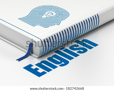 Education concept: closed book with Blue Head With Light Bulb icon and text English on floor, white background, 3d render - stock photo