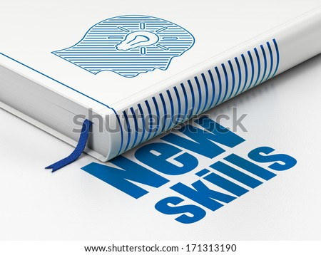 Education concept: closed book with Blue Head With Light Bulb icon and text New Skills on floor, white background, 3d render - stock photo