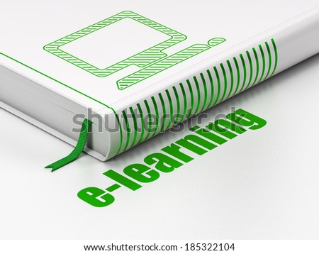Education concept: closed book with Green Computer Pc icon and text E-learning on floor, white background, 3d render - stock photo