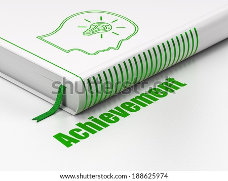 Education concept: closed book with Green Head With Lightbulb icon and text Achievement on floor, white background, 3d render - stock photo