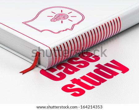 Education concept: closed book with Red Head With Lightbulb icon and text Case Study on floor, white background, 3d render