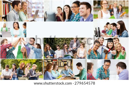 education concept - collage with many pictures of students in college, university or high school with copyspace - stock photo