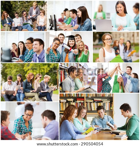 education concept - collage with many pictures of students in college, university or high school - stock photo