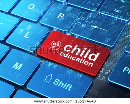 Education concept: computer keyboard with Head With Gears icon and word Child Education on enter button background, 3d render - stock photo