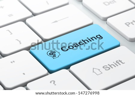 Education concept: computer keyboard with Head With Gears icon and word Coaching, selected focus on enter button, 3d render - stock photo