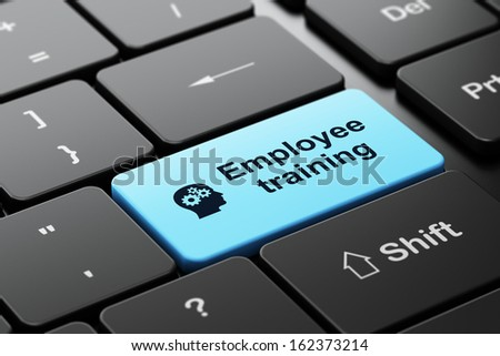 Education concept: computer keyboard with Head With Gears icon and word Employee Training, selected focus on enter button, 3d render - stock photo