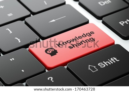 Education concept: computer keyboard with Head With Gears icon and word Knowledge Sharing, selected focus on enter button, 3d render - stock photo