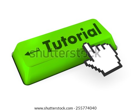 Education concept: computer keyboard with Head With Gears icon and word Tutorial, selected focus on enter button, 3d render - stock photo