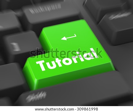 Education concept: computer keyboard with Head With Gears icon and word Tutorial, selected focus on enter button, 3d render