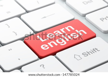 Education concept: computer keyboard with word Learn English, selected focus on enter button background, 3d render - stock photo