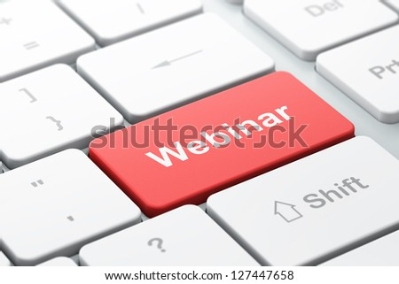 Education concept: computer keyboard with word Webinar, selected focus on enter button, 3d render - stock photo