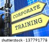 Education Concept. Corporate Training Roadsign on Blue Background. - stock photo