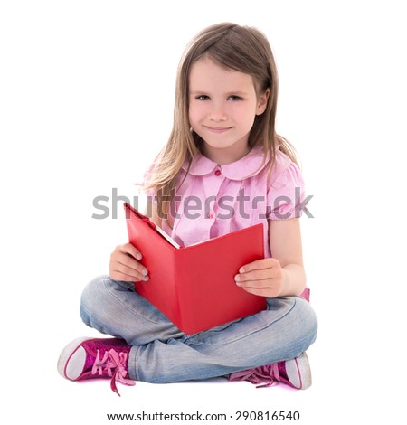 education concept - cute little girl reading book isolated on white background - stock photo