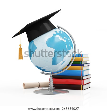 Education Concept. Desk Globe with Graduation Cap, Diploma and Books isolated on white background (Elements of this image furnished by NASA)