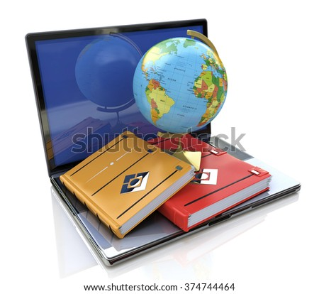 Education concept. e-learning in the world in the design of information related to education - stock photo