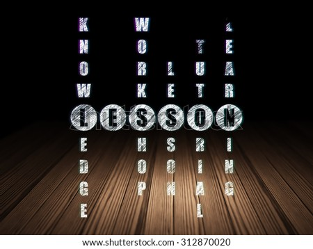 Education concept: Glowing word Lesson in solving Crossword Puzzle in grunge dark room with Wooden Floor, black background - stock photo