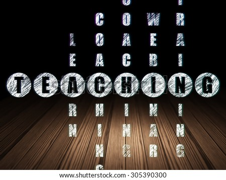 Education concept: Glowing word Teaching in solving Crossword Puzzle in grunge dark room with Wooden Floor, black background, 3d render