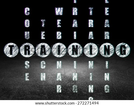 Education concept: Glowing word Training in solving Crossword Puzzle in grunge dark room with Dirty Floor, black background, 3d render - stock photo