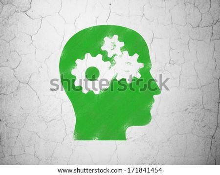 Education concept: Green Head With Gears on textured concrete wall background, 3d render - stock photo