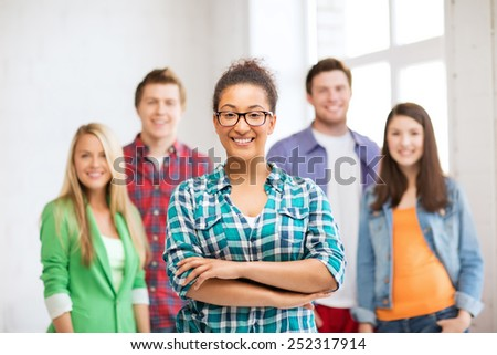 education concept - group of students at school - stock photo