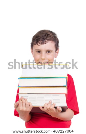 Education Concept - Happy smiling boy carrying heap of books Isolated on the White Background  - stock photo