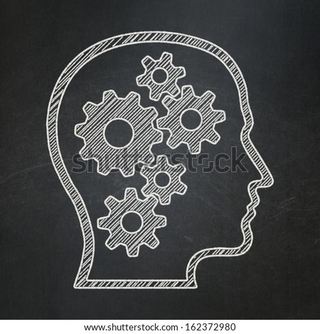 Education concept: Head With Gears icon on Black chalkboard background, 3d render - stock photo