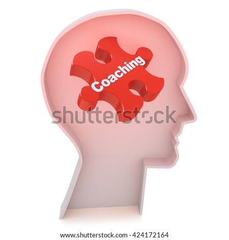 Education concept: Head With Red Puzzle Piece and word Coaching, 3d render in the design of information related to business training - stock photo