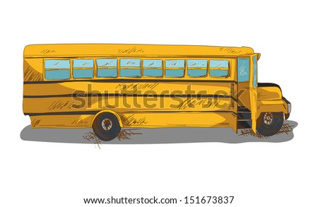 Education concept isolated back to school bus transportation cartoon illustration.