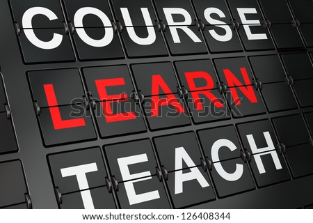 Education concept: Learn on airport board background, 3d render - stock photo
