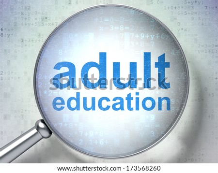 Education concept: magnifying optical glass with words Adult Education on digital background, 3d render - stock photo