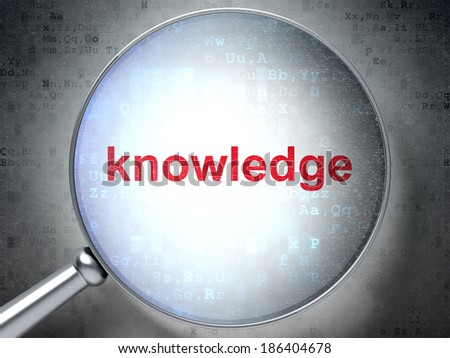 Education concept: magnifying optical glass with words Knowledge on digital background, 3d render - stock photo