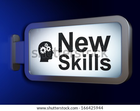 Education concept: New Skills and Head With Gears on advertising billboard background, 3d render - stock photo