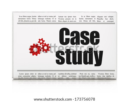 Education concept: newspaper headline Case Study and Gears icon on White background, 3d render - stock photo