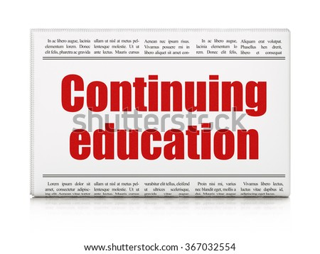 Education concept: newspaper headline Continuing Education - stock photo