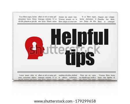 Education concept: newspaper headline Helpful Tips and Head With Keyhole icon on White background, 3d render - stock photo