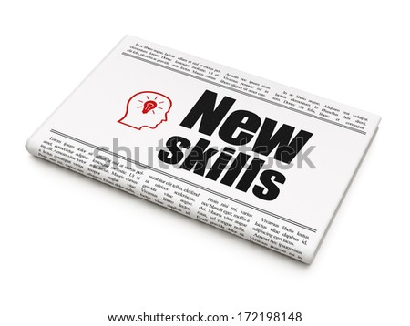 Education concept: newspaper headline New Skills and Head With Lightbulb icon on White background, 3d render - stock photo