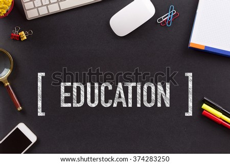 EDUCATION CONCEPT ON BLACKBOARD - stock photo