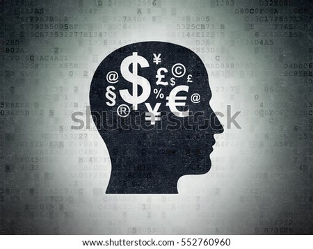 Education concept: Painted black Head With Finance Symbol icon on Digital Data Paper background
