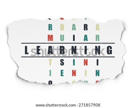 Education concept: Painted black word Learning in solving Crossword Puzzle on Torn Paper background, 3d render - stock photo