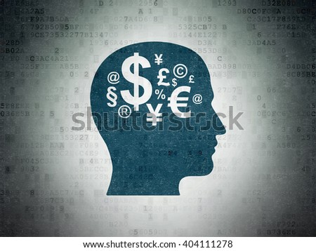 Education concept: Painted blue Head With Finance Symbol icon on Digital Paper background
