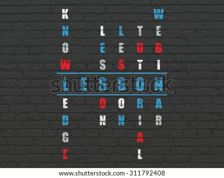 Education concept: Painted blue word Lesson in solving Crossword Puzzle - stock photo
