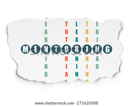 Education concept: Painted blue word Mentoring in solving Crossword Puzzle on Torn Paper background, 3d render - stock photo