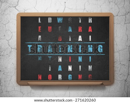 Education concept: Painted blue word Training in solving Crossword Puzzle on School Board background, 3d render - stock photo