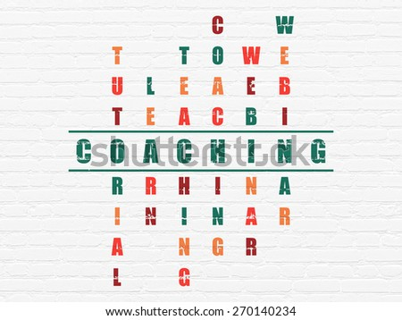 Education concept: Painted green word Coaching in solving Crossword Puzzle, 3d render - stock photo