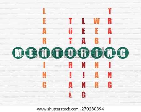 Education concept: Painted green word Mentoring in solving Crossword Puzzle, 3d render - stock photo