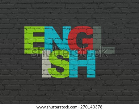 Education concept: Painted multicolor text English on Black Brick wall background, 3d render - stock photo