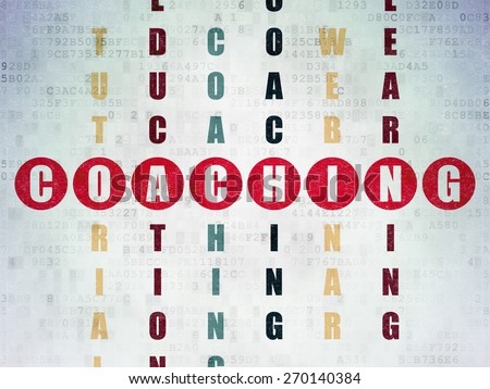 Education concept: Painted red word Coaching in solving Crossword Puzzle on Digital Paper background, 3d render - stock photo