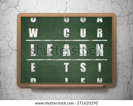 Education concept: Painted White word Learn in solving Crossword Puzzle on School Board background, 3d render - stock photo